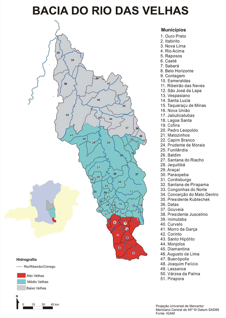 Mapa das subregiões da bacia do rio das velhas