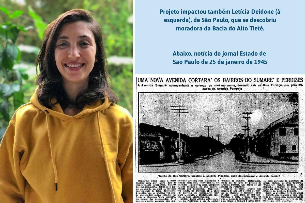 Projeto impactou também Letícia Deidone, de São Paulo, que se descobriu moradora da Bacia do Alto Tietê. Abaixo, notícia do jornal Estado de São Paulo de 25 de janeiro de 1945