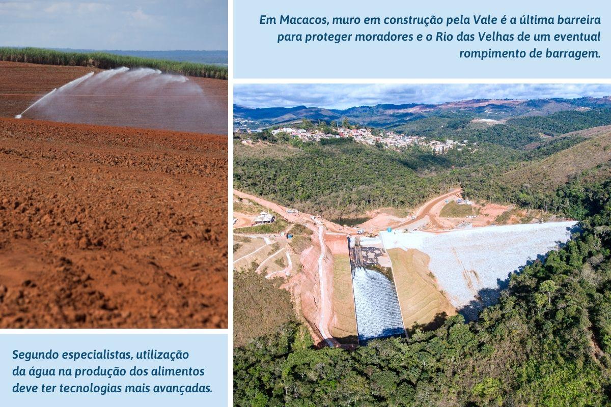 Em Macacos, muro em construção pela Vale é a última barreira para proteger moradores e o Rio das Velhas de um eventual rompimento de barragem.